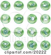 Clipart Illustration Of A Collection Of Green Icons Of A Door Tape Dispenser Tack Pencil Phone Champion Lightbulb Money Bag Piggy Bank Cell Phone Trophy Lips Chart And Plant by AtStockIllustration