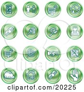 Clipart Illustration Of A Collection Of Green Icons Of Apartments Handshake Real Estate House Money Classifieds Brick Laying Businessman Hardhat And A Key