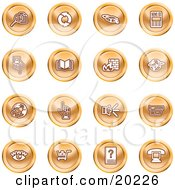 Clipart Illustration Of A Collection Of Orange Icons Of Security Symbols On A White Background