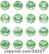 Clipart Illustration Of A Collection Of Green Fishing Hockey Trophy Baseball Golfing Racing Ice Skating Skiing Cricket And Cycling Sports Icons