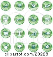 Clipart Illustration Of A Collection Of Green Icons Of An Arrow Floppy Disc Padlock Mail Coffee Link Laptop Printer Shopping Cart Hourglass Computer Email Apple House Camera And Globe