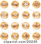 Clipart Illustration Of A Collection Of Orange Icons Of A Big Rig Paint Roller Cogs Oil Turbines Ship Saw Wrench Pliers Shovel Hammer Gardening And Brick Laying