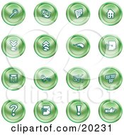 Clipart Illustration Of A Collection Of Green Icons Of A Magnifying Glass Email Home Page Upload Download Mouse Key Disc Padlock Speaker Www Questionmark And Exclamation Point by AtStockIllustration
