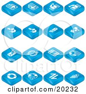Clipart Illustration Of A Collection Of Blue Web Browser Tablet Icons Of Forward And Back Buttons Upload Download Email Snail Mail News Refresh Home And Search