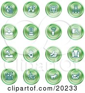 Clipart Illustration Of A Collection Of Green Icons Of The Www Connectivity Networking Upload Downloads Computers Messenger Printing Clapperboard And Email by AtStockIllustration