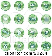 Clipart Illustration Of A Collection Of Green Entertainment Icons Of A Video Camera Microphone Magic Trick Billiards Blimp Electric Guitar Museum Clapboard Film Strip Theatre Mask Painting Circus Tent Basketball Tv And Music by AtStockIllustration