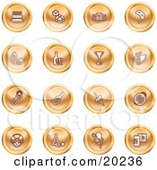 Clipart Illustration Of A Collection Of Orange Icons Of Gifts Radio Mask Alcohol Kebobs Disco Ball Clown Party Hats Balloons And Beer