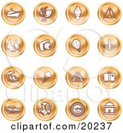 Clipart Illustration Of A Collection Of Orange Icons Of On A White Background