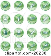 Clipart Illustration Of A Collection Of Green Beauty Icons Of Mascara Brushes Body Wash Nail Polish Perfume Hairspray Blow Dryer Comb Shampoo And Conditioner Compact Lipstick Lotion Towels Hair Straightener And Hand Mirror