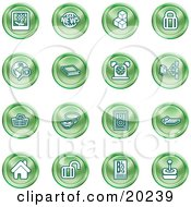 Clipart Illustration Of A Collection Of Green Icons Of A Polaroid News Cubes Padlock Www Search Book Alarm Clock Connectivity Messenger Speaker Calculator Home Blog And Joystick