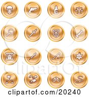 Clipart Illustration Of A Collection Of Orange Icons Of A Skull Pistol Poison Scales Magnifying Glass Knife Police Badge Candlestick Prisoner Syringe Sheriff Badge Pills Handcuffs And A Noose