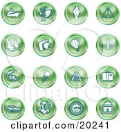 Clipart Illustration Of A Collection Of Green Icons Of On A White Background