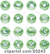 Clipart Illustration Of A Collection Of Green Icons Of A Cash Register Book Customer Service Medal Envelope Handshake Pie Chart Pen Cell Phone Credit Card And Folder by AtStockIllustration