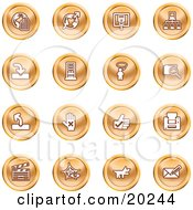 Clipart Illustration Of A Collection Of Orange Icons Of The Www Connectivity Networking Upload Downloads Computers Messenger Printing Clapperboard And Email by AtStockIllustration