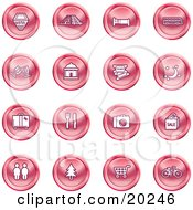 Clipart Illustration Of A Collection Of Red Icons Of A Hotel Road By Train Tracks Bed Bus Wine Glasses Tickets Moon Luggage Diner Camera Shopping Restrooms Tree Shopping Carts And Bicycle by AtStockIllustration