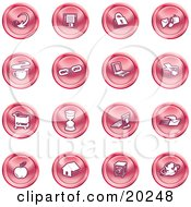 Clipart Illustration Of A Collection Of Red Icons Of An Arrow Floppy Disc Padlock Mail Coffee Link Laptop Printer Shopping Cart Hourglass Computer Email Apple House Camera And Globe by AtStockIllustration