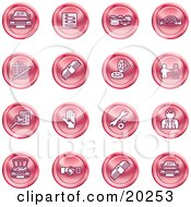 Clipart Illustration Of A Collection Of Red Icons Of Cars A Log Cash Lemon Dealer Ads Key Wrench Engine Handshake And Money
