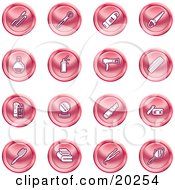 Clipart Illustration Of A Collection Of Red Beauty Icons Of Mascara Brushes Body Wash Nail Polish Perfume Hairspray Blow Dryer Comb Shampoo And Conditioner Compact Lipstick Lotion Towels Hair Straightener And Hand Mirror