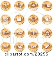 Clipart Illustration Of A Collection Of Orange Fashion Icons Of A Diamond Ring Boots Necklace Shoes Purses Dress Jacket Hats Sunglasses And Lipstick