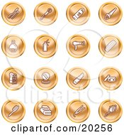 Clipart Illustration Of A Collection Of Orange Beauty Icons Of Mascara Brushes Body Wash Nail Polish Perfume Hairspray Blow Dryer Comb Shampoo And Conditioner Compact Lipstick Lotion Towels Hair Straightener And Hand Mirror