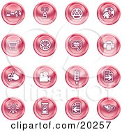 Clipart Illustration Of A Collection Of Purple Icons Of A Communications Tower Www Home Page Shopping Cart Messenger Printer Camera Street Light Lightbulb Hourglass And Search