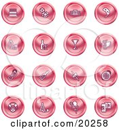 Clipart Illustration Of A Collection Of Red Icons Of Gifts Radio Mask Alcohol Kebobs Disco Ball Clown Party Hats Balloons And Beer