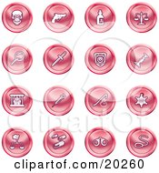 Clipart Illustration Of A Collection Of Red Icons Of A Skull Pistol Poison Scales Magnifying Glass Knife Police Badge Candlestick Prisoner Syringe Sheriff Badge Pills Handcuffs And A Noose