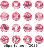 Clipart Illustration Of A Collection Of Red Food Icons Of A Martini Pigs Fish Juice Kebobs Corn Wine Beer Chicken Breakfast Fruit Bread Meal Burger And Cheese