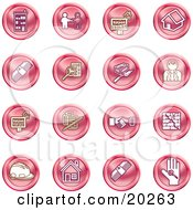 Clipart Illustration Of A Collection Of Red Icons Of Apartments Handshake Real Estate House Money Classifieds Brick Laying Businessman Hardhat And A Key