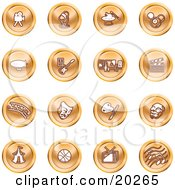 Clipart Illustration Of A Collection Of Orange Entertainment Icons Of A Video Camera Microphone Magic Trick Billiards Blimp Electric Guitar Museum Clapboard Film Strip Theatre Mask Painting Circus Tent Basketball Tv And Music