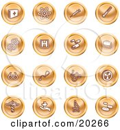 Clipart Illustration Of A Collection Of Orange Icons Of Medicine Science And Biology by AtStockIllustration