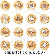 Clipart Illustration Of A Collection Of Orange Athletics Icons Of A Badmitten Shuttlecock Football Basketball Golf Ball Bowling Curling Stone Tennis Medal Hockey Ping Pong Billiards Football Helmet Soccer Ball Boxing And Rugby by AtStockIllustration