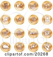 Clipart Illustration Of A Collection Of Orange Icons Of Apartments Handshake Real Estate House Money Classifieds Brick Laying Businessman Hardhat And A Key