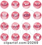 Clipart Illustration Of A Collection Of Red Icons Of A Magnifying Glass Cash Register Flashlight Internet Film Upload Download Home Page And Connectivity by AtStockIllustration