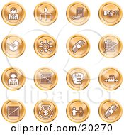 Clipart Illustration Of A Collection Of Orange Business Icons Of Business People Management Hand Shake Lightbulb Cash Charts And Money Bags by AtStockIllustration