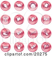 Clipart Illustration Of A Collection Of Red Icons Of A Cash Register Book Customer Service Medal Envelope Handshake Pie Chart Pen Cell Phone Credit Card And Folder by AtStockIllustration