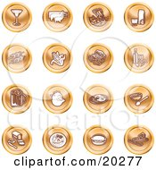 Clipart Illustration Of A Collection Of Orange Food Icons Of A Martini Pigs Fish Juice Kebobs Corn Wine Beer Chicken Breakfast Fruit Bread Meal Burger And Cheese by AtStockIllustration