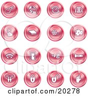Clipart Illustration Of A Collection Of Red Icons Of A Bomb Computer Letter Magnifying Glass Book Film Cogs Eye Door Flashlight Messenger Padlocks And Reminder by AtStockIllustration