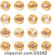 Clipart Illustration Of A Collection Of Orange Icons Of A Door Tape Dispenser Tack Pencil Phone Champion Lightbulb Money Bag Piggy Bank Cell Phone Trophy Lips Chart And Plant by AtStockIllustration