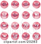 Clipart Illustration Of A Collection Of Red Icons Of Music Notes Guitar Clapperboard Atom Microscope Atoms Messenger Painting Book Circus Tent Globe Masks Sports Balls And Math