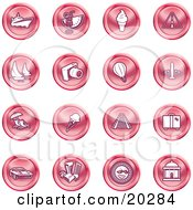 Clipart Illustration Of A Collection Of Red Icons Of On A White Background