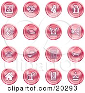 Clipart Illustration Of A Collection Of Red Icons Of A Polaroid News Cubes Padlock Www Search Book Alarm Clock Connectivity Messenger Speaker Calculator Home Blog And Joystick