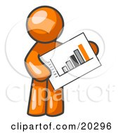 Clipart Illustration Of An Orange Man Holding A Bar Graph Displaying An Increase In Profit by Leo Blanchette