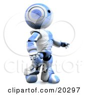 Tough And Durable Humanoid Blue And White Ao-Maru Robot With Deep Cuts And Scratches In His Plastic Still Walking And Determined To Survive