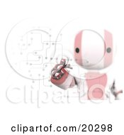 Poster, Art Print Of Ripples Around A Humanoid Red And White Ao-Maru Robots Finger As He Enters A Pin Or Password On A Keypad With Circuits Symbolizing Security And Identification