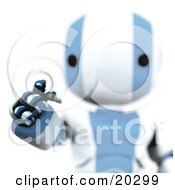Clipart Illustration Of Ripples Around A Humanoid Blue And White Ao Maru Robots Finger As He Enters A Security Pin Or Password For Identification On A Keypad by Leo Blanchette