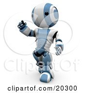 Curious Humanoid Blue And White Ao Maru Robot Walking Forward And Pointing Upwards by Leo Blanchette