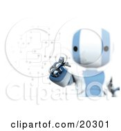 Poster, Art Print Of Ripples Around A Humanoid Blue And White Ao-Maru Robots Finger As He Enters A Pin Or Password On A Keypad With Circuits Symbolizing Security And Identification