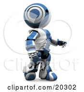 Amazed Humanoid Blue And White Ao Maru Robot Walking An Looking Upwards by Leo Blanchette