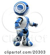 Blue And White Ao Maru Robot Gazing Slightly Upwards And Walking by Leo Blanchette
